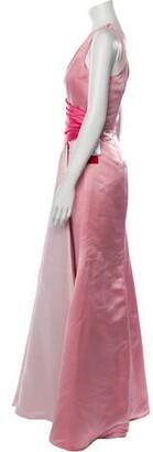 Carmen Marc Valvo One-Shoulder Long Dress Pink