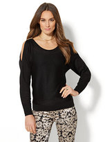 New York & Co. 7th Avenue Design Studio - Lurex Cold-Shoulder Sweater