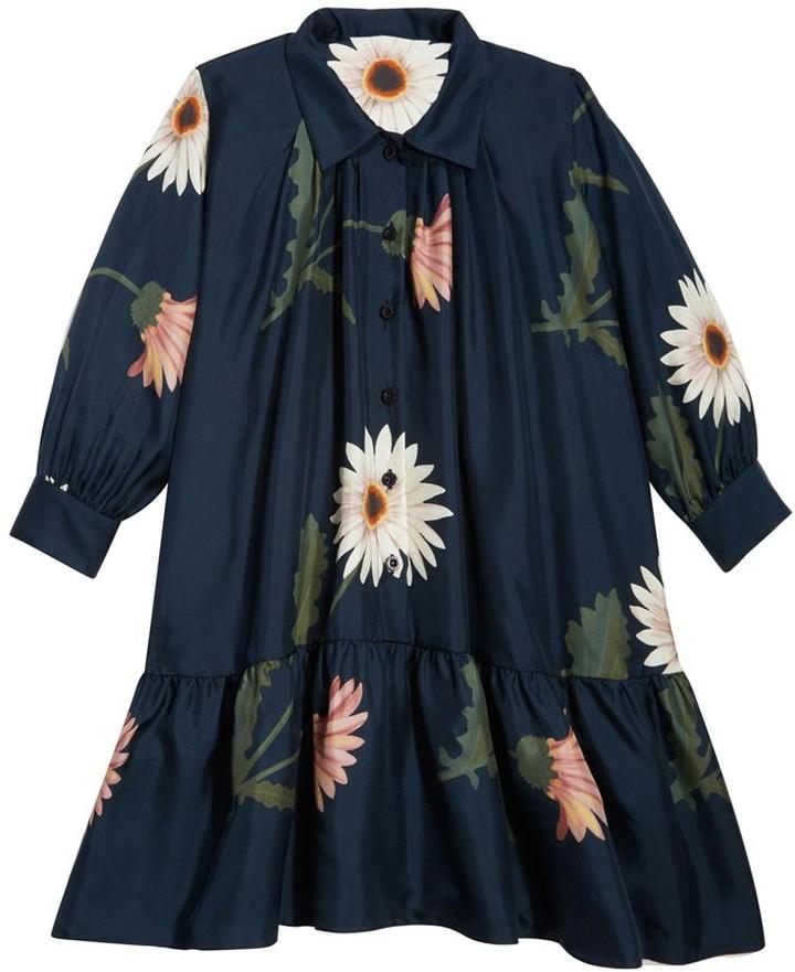 Oscar de la Renta Navy Flower Dress