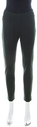 Max Mara Dark Green Patterned Knit Slim Fit Legging Trousers M