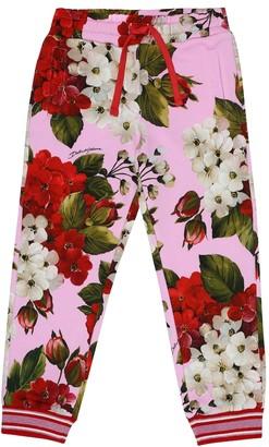 Dolce & Gabbana Kids Floral cotton-jersey trackpants