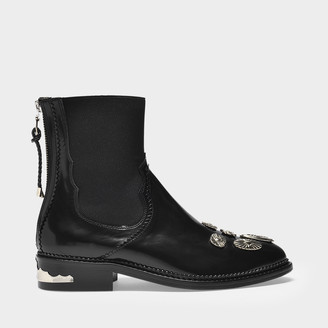 Toga Pulla Flat Boots In Black Leather