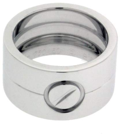 Cartier Love 18K White Gold Wide Ring Size 5.25