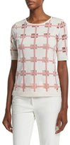 Escada Short-Sleeve Window-Check Blouse, Off White