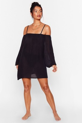 Nasty Gal Womens Blow Hot and Cold Shoulder Cover-Up Mini Dress - Black - 8
