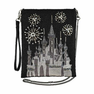 Mary Frances Glittering Sky Black Princess Castle Beaded Crossbody Handbag