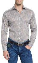 Etro Wavy-Stripe Long-Sleeve Sport Shirt
