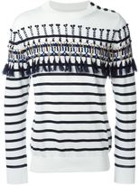 Sacai striped and embroidered jumper - men - Cotton - 3