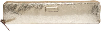 Kate Spade Gold Leather Zip Around Long Clutch