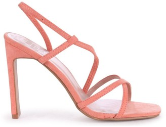 Linzi STARLIGHT - Peach Suede Sling Back Strappy Slim Heel