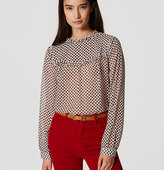 LOFT Lattice Ruffle Blouse