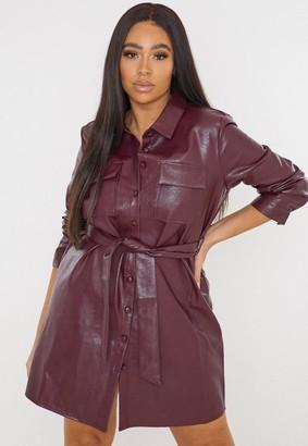 Missguided Plus Size Wine Faux Leather Utility Pocket Shirt Dress