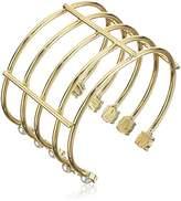 Steve Madden Open Work Multi-layer Pearl Gold Bracelet