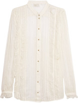 Zimmermann Ruffle-trimmed metallic striped silk-chiffon shirt
