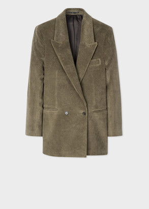 Paul Smith Women's Brown Corduroy Cotton Relaxed Double-Breasted Blazer