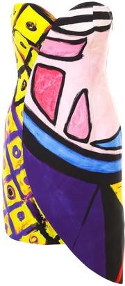 Moschino Graphic Printed Strapless Dress