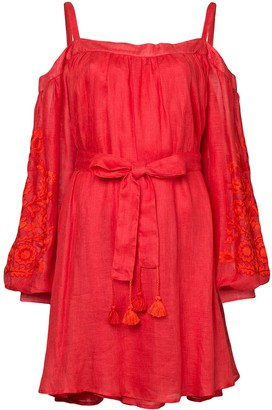 March 11 cold-shoulder embroidered dress