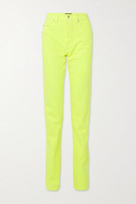 Kwaidan Editions Neon High-rise Straight-leg Jeans - Bright yellow