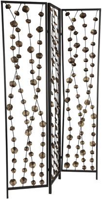 Uma Enterprises Uma 3-Panel Bronze Leaf & Black Metal Screen Room Divider