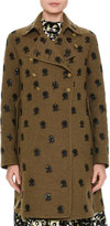 Valentino Floral-Embroidered Mid-Length Coat, Green/Brown