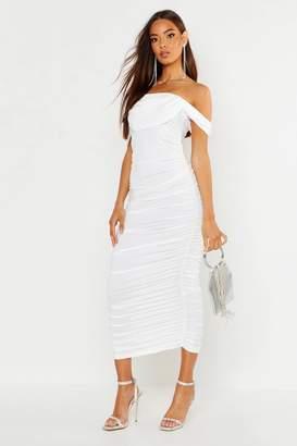 boohoo All Over Mesh Bodice Detail Midi Dress