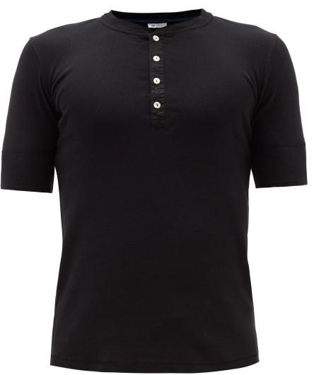 Schiesser Short Sleeved Cotton Jersey Pyjama Top - Mens - Black