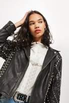 Topshop Embellished leather jacket