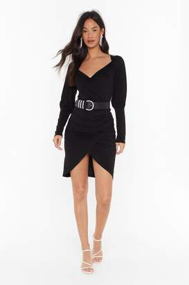 Nasty Gal Womens That's a Wrap Plunging Mini Dress - black - 4