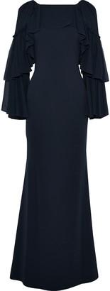 Badgley Mischka Ruffled Chiffon-paneled Stretch-cady Gown