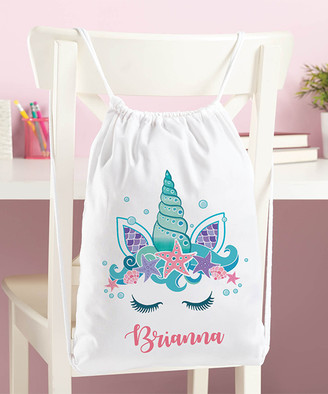 Personalized Planet Backpacks White - White Sea Unicorn Personalized Drawstring Bag