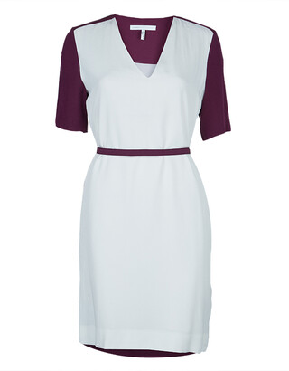 Victoria Victoria Beckham Purple and White Belted Shift Dress S