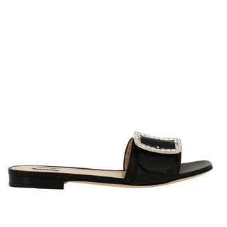 Bally Flat Sandals Janna Flat Cristal Sandal In Leather With Rhinestone Buckle