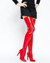 Public Desire Red Heeled Thigh High Boots