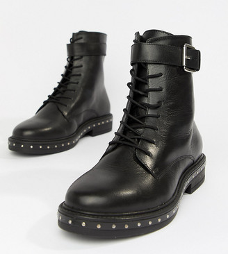 Asos DESIGN Wide Fit Algebra leather lace up boots