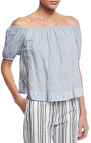 See by Chloe Crinkled Off-the-Shoulder Top, Forever Blue