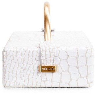 Cult Gaia Dita Croc-Embossed Leather Top Handle Box Bag