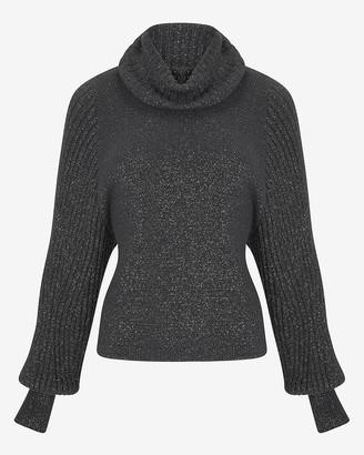 Express Metallic Ribbed Cowl Neck Sweater