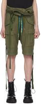 R 13 Khaki Rolled Waist Cargo Shorts