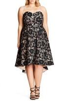City Chic Plus Size Women's Sierra Lace Strapless Fit & Flare Dress
