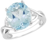 Diamond 5-1/2 CT. Blue Topaz and Accent Ring in Sterling Silver