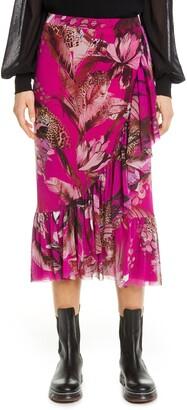 Fuzzi Leopard & Floral Print Ruffle Mesh Skirt