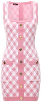 Balmain Buttoned Gingham Jacquard Dress