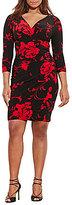 Lauren Ralph Lauren Plus Faux-Wrap 3/4 Sleeve Floral Jersey Dress