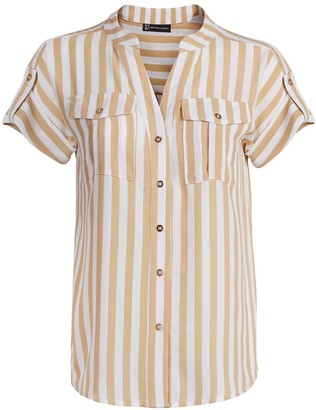 New York & Co. Stripe Button-Tab Utility Shirt