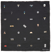 Paul Smith Cufflink Print Silk Pocket Square Black