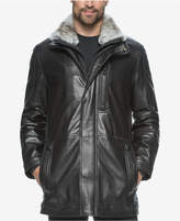 Andrew Marc Men's Middlebury Leather Coat with Fur Collar