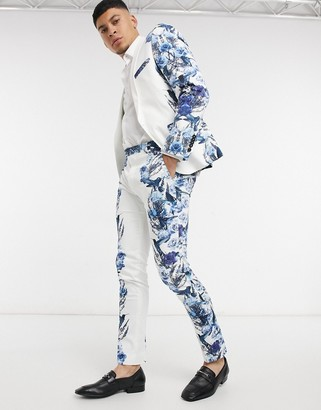 Twisted Tailor suit pants with mirrored blue floral print in white