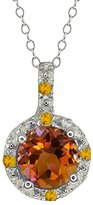 Gem Stone King 0.65 Ct Round Orange Mystic Topaz and Simulated Citrine 18k White Gold Pendant