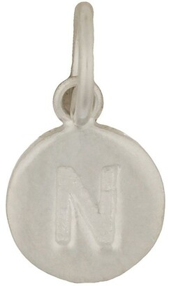Mocha Round Plate Letter Sterling Silver Charm - N