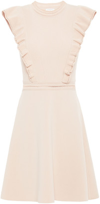 Sandro Ruffled Stretch-ponte And Ribbed-knit Mini Dress
